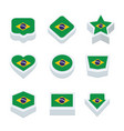 brazil flags icons and button set nine styles vector image