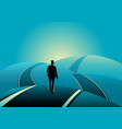 businessman standing on the asphalt road over the vector image vector image