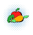 Carrot broccoli and apple icon comics style vector image vector image