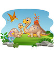 cartoon mother and baby dinosaurs with nature vector image vector image