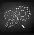 chalk drawn gears vector image
