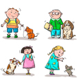 Children with their dogs vector image vector image