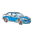 Colored hand drawn car on white background sedan vector image vector image