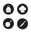 Cooking equipment black icons set vector image