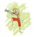 cool cartoon muay thai fighter layer vector image