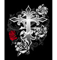 Cross rose design vector image