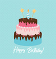 cute happy birthday background cake icon with vector image vector image