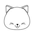 cute little cat head kawaii character vector image vector image