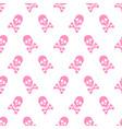 cute pink skeleton pattern vector image vector image