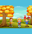 cute three kids in farm background vector image vector image