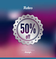 discount silver badge fifty percent offer vector image vector image