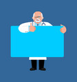 doctor holding banner blank physician and white vector image vector image