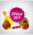 festive celebration powder color for happy holi vector image vector image