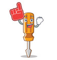 foam finger screwdriver character cartoon style vector image vector image