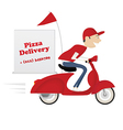 Funny pizza delivery boy riding red motor bike vector image vector image