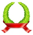 green wreaths ribbon vector image vector image