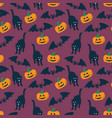 halloween pattern seamless pattern with pumpkins vector image