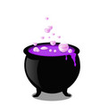 halloween witch cauldron with bubbling purple goo