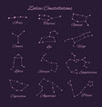 hand drawn 12 zodiac constellations set vector image