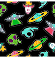 Hand drawn space patch icons seamless pattern vector image vector image