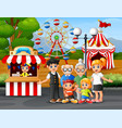 happy family recreation in the amusement park vector image vector image
