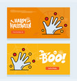 happy halloween invitation design with hand vector image