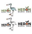 heron sushi bar design template vector image