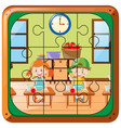 jigsaw puzzle game with two kids eating vector image