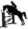 jumping show horse with jockey jumping a hurdle vector image vector image