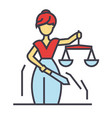 justice statue themis femida law concept line vector image vector image