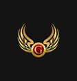 luxury letter g emblem wings logo design concept vector image vector image
