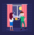 man holding gift box present for woman happy new vector image vector image