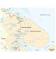 map kola peninsula in northwest russia vector image vector image