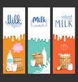 milk products vertical flyer set vector image vector image