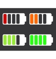 modern battery icons on black background vector image vector image