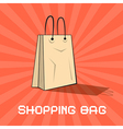 Paper Shopping Bag on Retro Red Background vector image