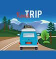 road trip moving car on road summer landscape vector image vector image