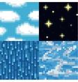 Set of pixel sky textures vector image vector image