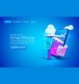 smartphone airplane app banner concept place vector image