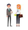 smiling man with smartphone woman briefcase vector image vector image