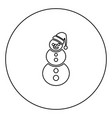 snowman black icon outline in circle image vector image