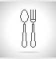 spoon and fork icon pixel art style vector image