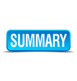 Summary blue 3d realistic square isolated button vector image
