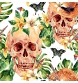 Summer watercolor skull tropical leaves vector image vector image