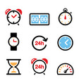 time clock color icons set - alarm clock vector image