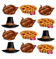 turkey pie and a hat realistic pattern vector image vector image