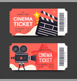 two red cinema tickets with flat movie camera vector image