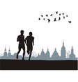two runners on horizon vector image