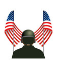 united state flag with soldier and helmet vector image vector image