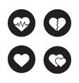 Heart shapes black icons set vector image